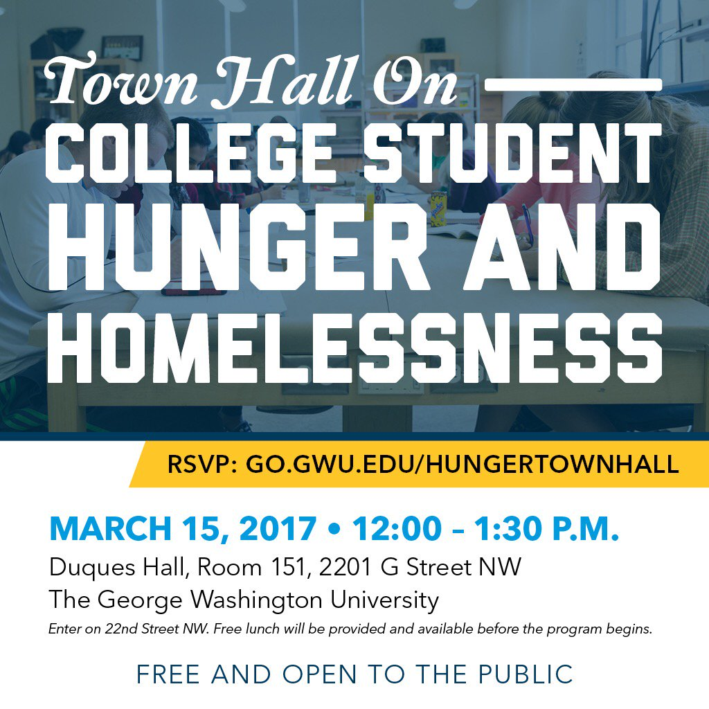 On March 15th @ noon, join us in DC to discuss issues of food & housing insecurity in #highered. #hungertownhall https://t.co/aFqc240sbJ https://t.co/UosFmNyZkx