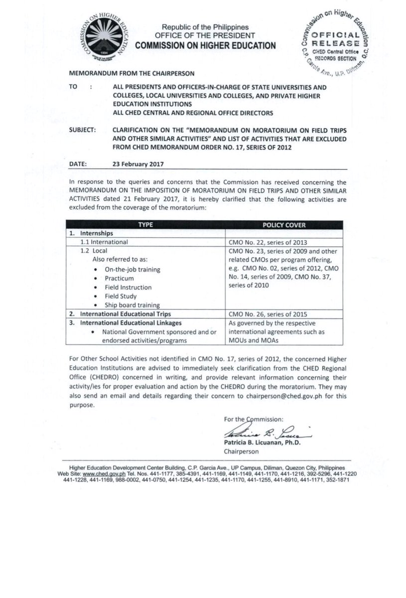 LOOK: CHEd issues clarificatory memo on moratorium on field trips