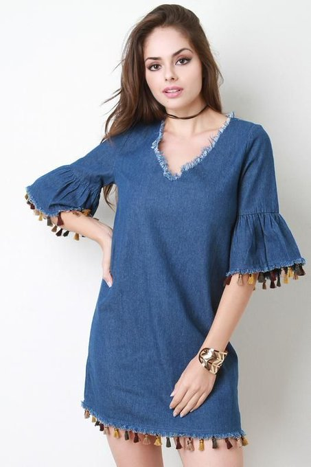 Frayed Hem Multi Colored Tassel Detail Bell Sleeve Shift Dress