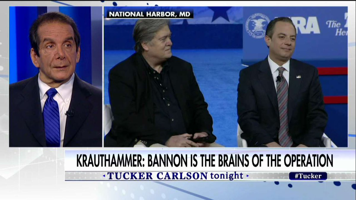 """.@krauthammer on Steve Bannon: """"It was extremely revealing, this is the brains of the operation."""" #Tucker <br>http://pic.twitter.com/f7WeHr92Qz"""