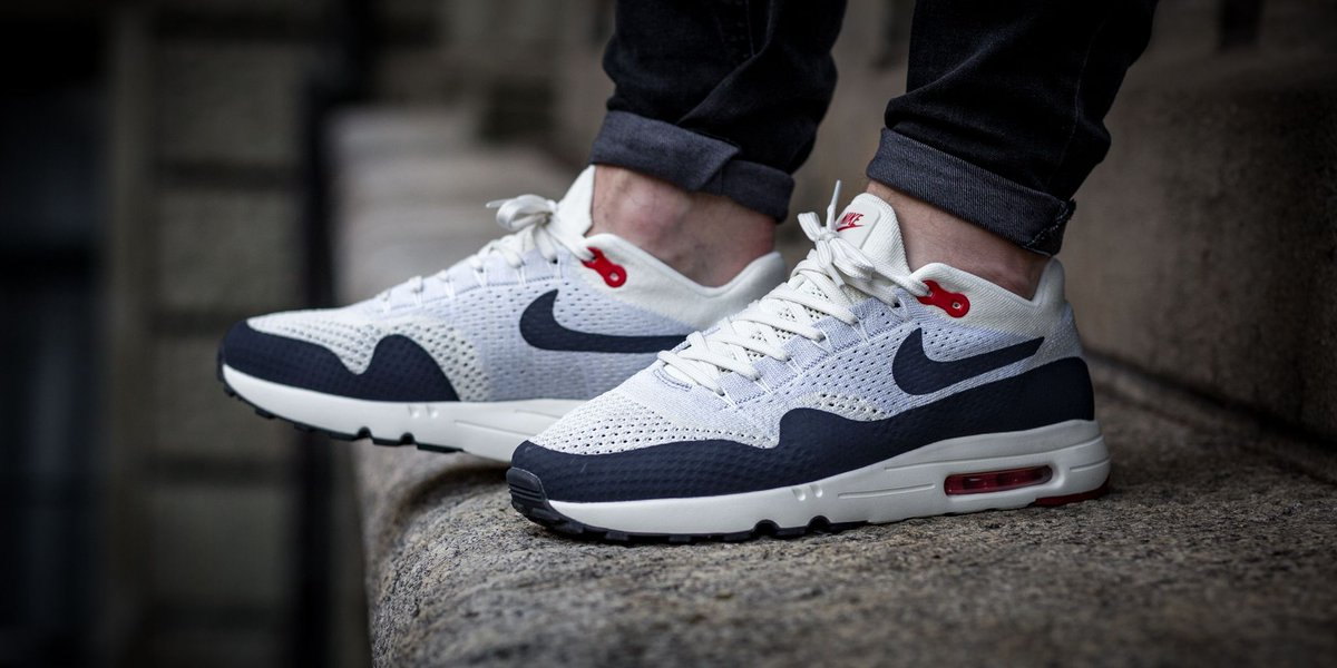 2499fc5759 NEW IN! Nike Air Max 1 Ultra 2.0 Flyknit - Sail/Obsidian-Wolf Grey- University Red SHOP HERE: http://bit.ly/2ld9h77 pic.twitter.com/sHWawOPsGY
