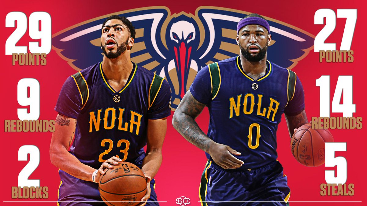 Boogie and the Brow scored or assisted on 67 of the Pelican's 99 Pts tonight.