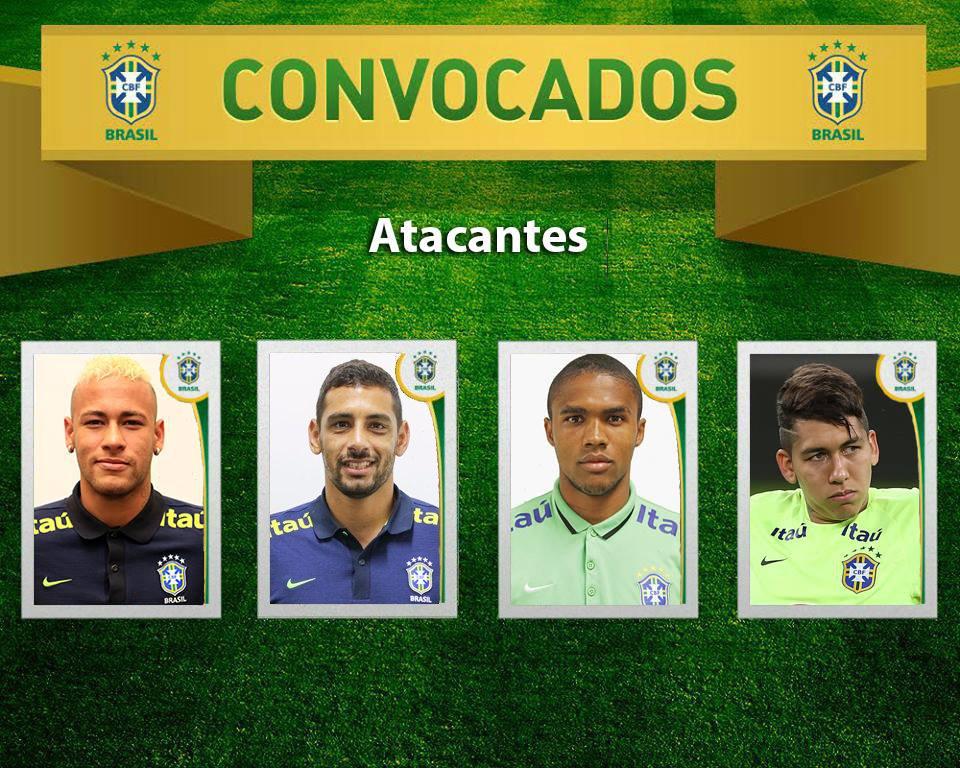 #ConvocaçãoSeleçãoBrasileira - Atacantes: Neymar, Diego Souza, Douglas Costa e Firmino