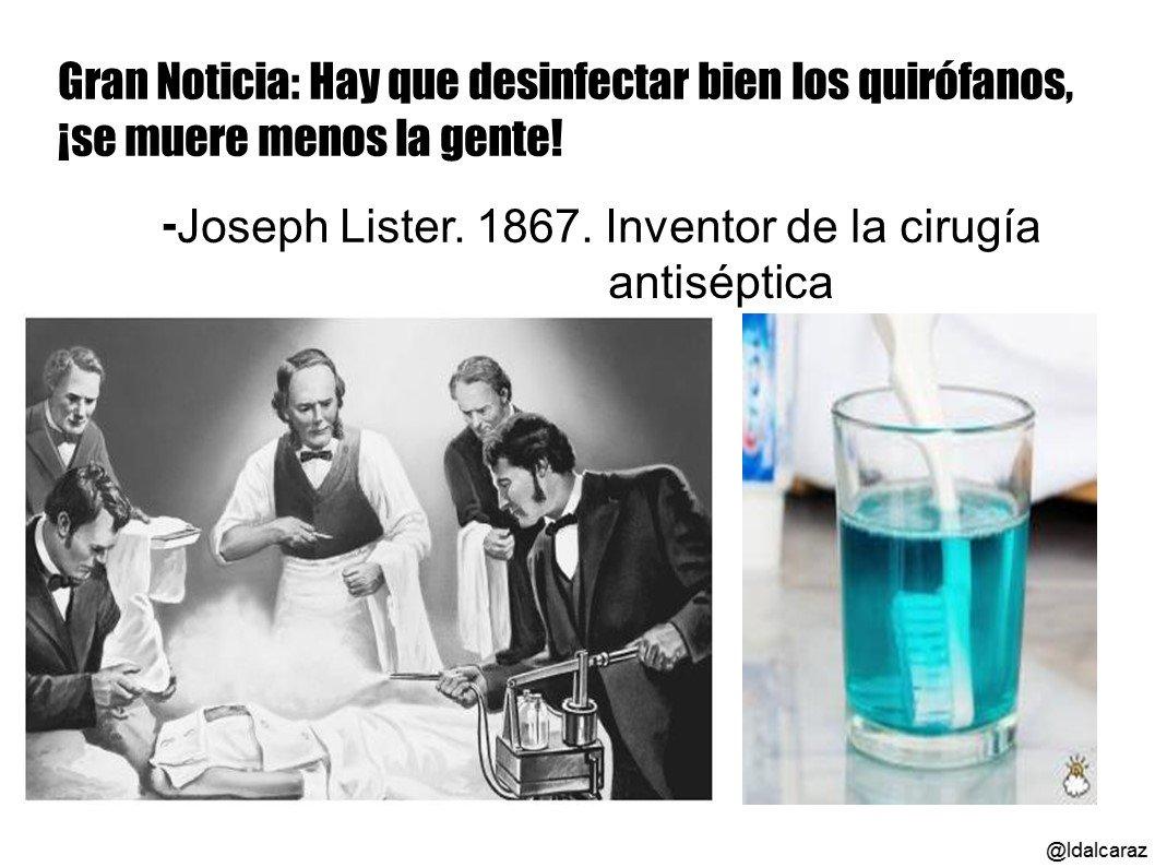Joseph Lister ve que los pacientes mueren menos si se limpia bien el quirófano (1867) #microMOOCSEM2 https://t.co/nahyIulqhc