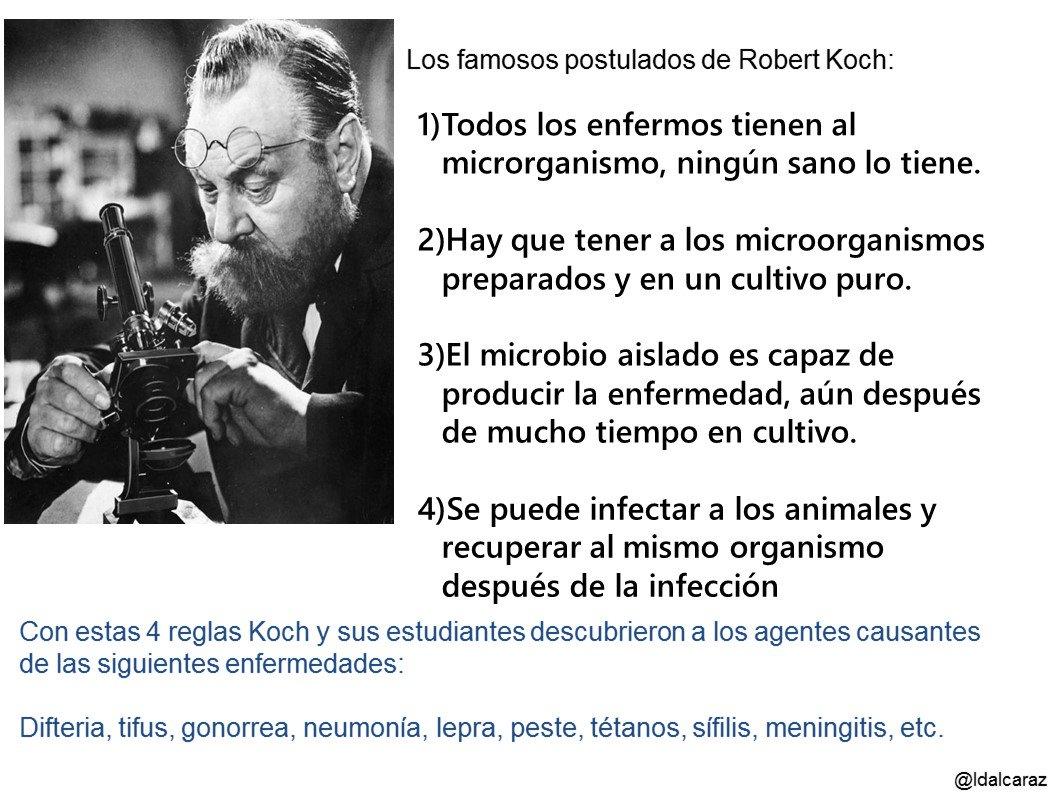 Robert Koch valida la teoría germinal de las enfermedades de Pasteur y genera 4 reglas #microMOOCSEM2 https://t.co/bnbBcP29Pb