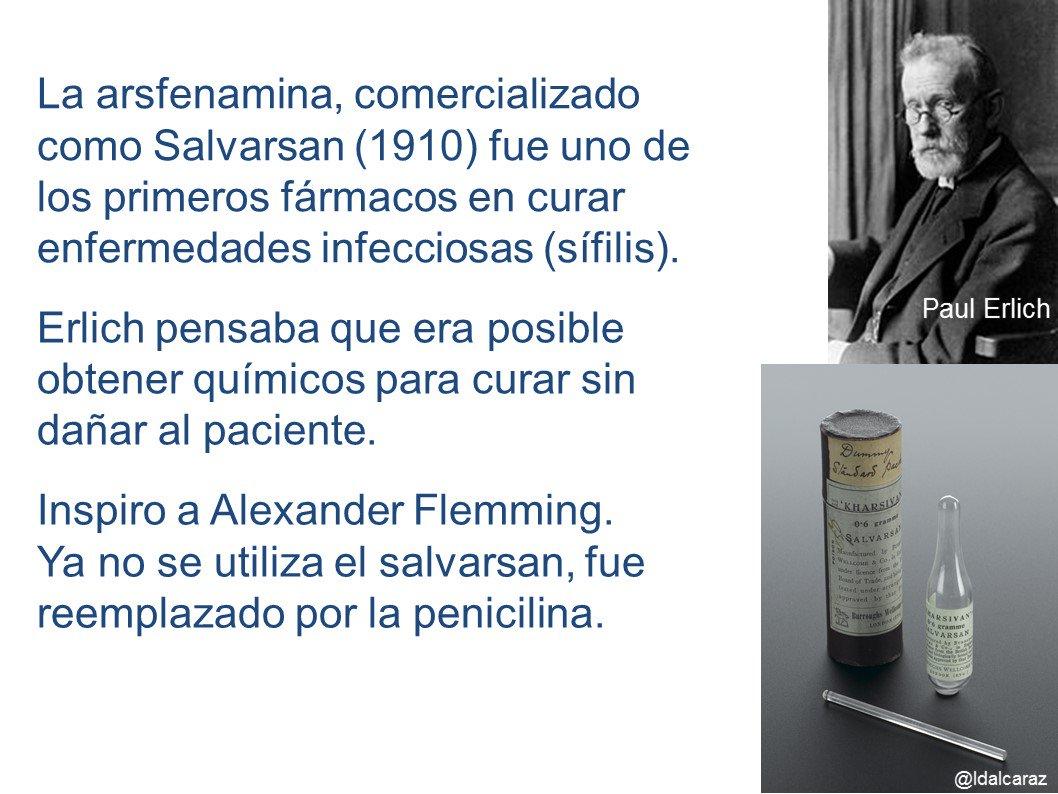 Primera droga química para tratar la sífilis desarrollada por Paul Erlich (1900s) además contribuye al estudio de anticuerpos #microMOOCSEM2 https://t.co/0B53ubH43H