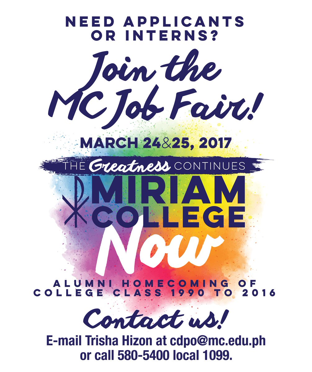 miriam college on the mcnow job fair is open for miriam college on the mcnow job fair is open for companies who would like to train or hire our 3rd and graduating students