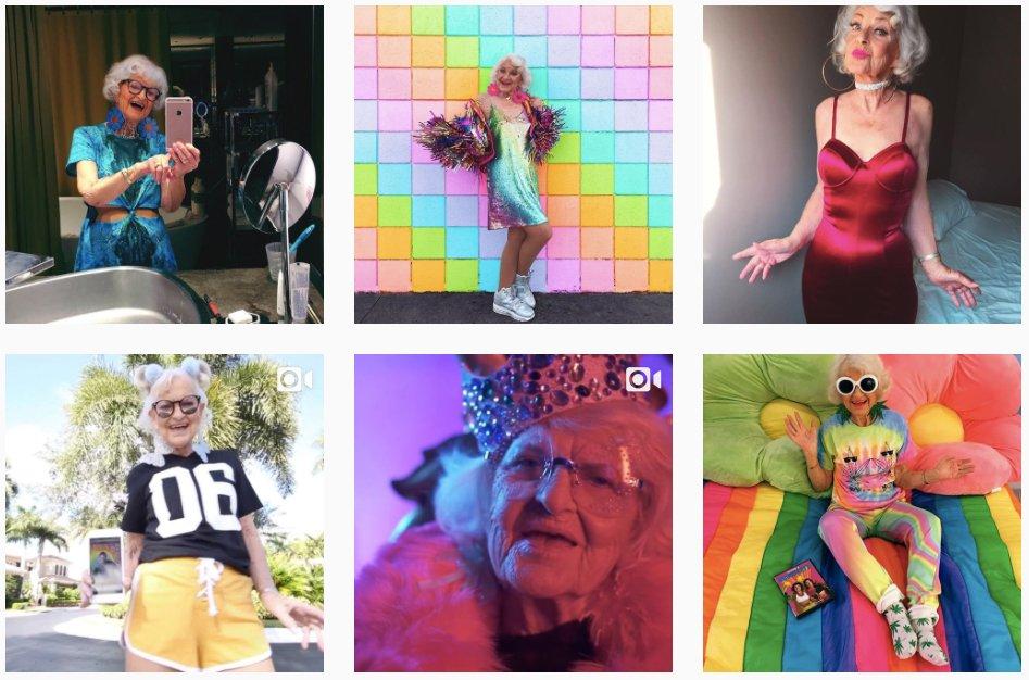 #Insolite : A 88 ans, Baddie Winkle, partage sa vie colorée et excentrique avec 2,8 millions d&#39;abonnés Instagram  http:// ow.ly/1iHf309hlAB  &nbsp;  <br>http://pic.twitter.com/aL6CRjx9PJ
