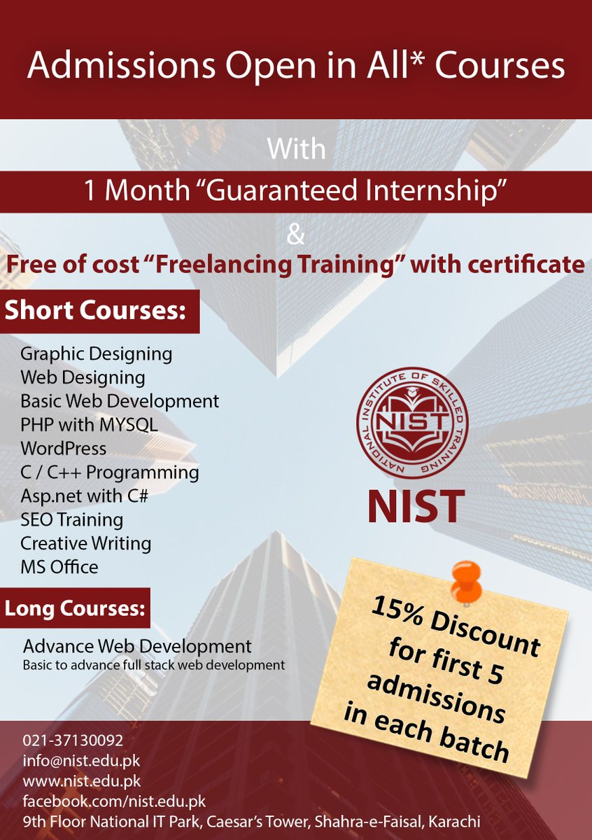 Nist On Twitter Enroll Now At Https T Co C4apbjkgk8 Get 15 Discount Courses With Guaranteed Internship Freelancing Training Karachi Nist Https T Co 8hndw4hqgz