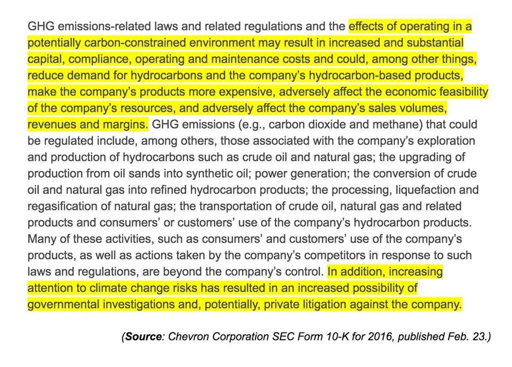 Chevron met officiellement en garde ses investisseurs : le risque #carbone existe pour les pétroliers. #climat  http:// investor.chevron.com/phoenix.zhtml? c=130102&amp;p=irol-SECText&amp;TEXT=aHR0cDovL2FwaS50ZW5rd2l6YXJkLmNvbS9maWxpbmcueG1sP2lwYWdlPTExNDE2ODY2JkRTRVE9MCZTRVE9MCZTUURFU0M9U0VDVElPTl9FTlRJUkUmc3Vic2lkPTU3 &nbsp; … <br>http://pic.twitter.com/xMfEf7T9Gx