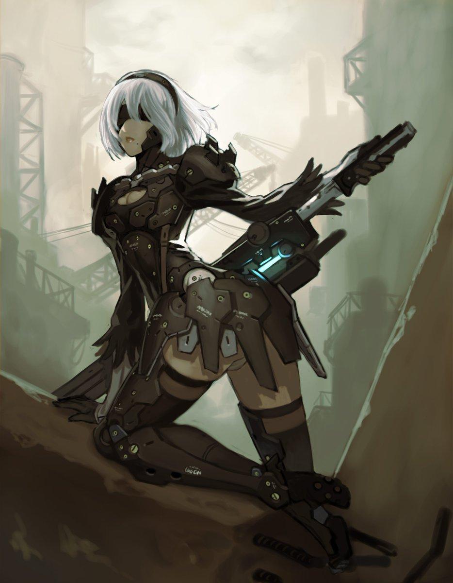 間に合わなかったけど、NieR:Automata発売おめでとうございます! 思いついたので描いちゃった…同じプラチナだし、剣劇アクションだし、 黒に銀髪だし、ねっ! https://t.co/E2FpBPGous