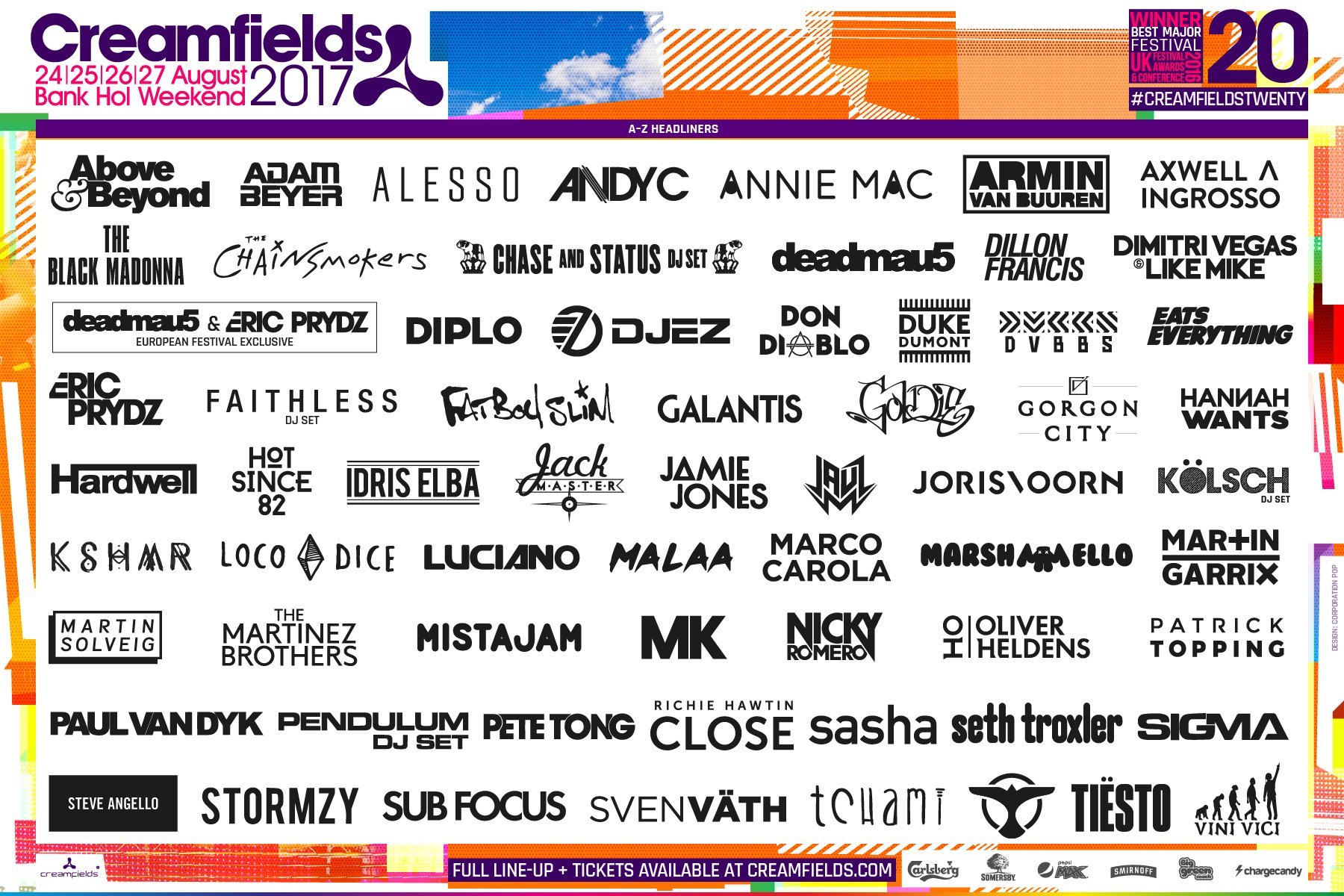 Image result for creamfields headliners