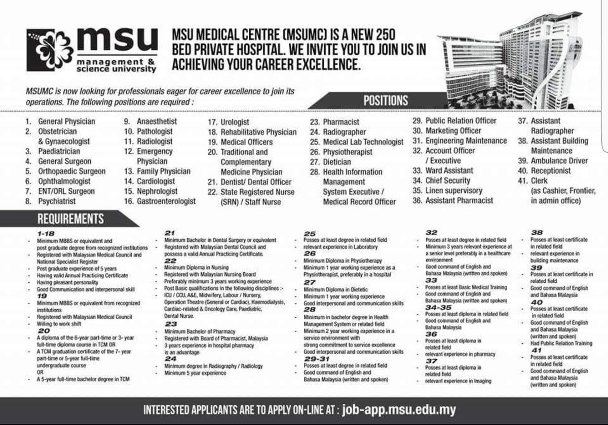Rosnizan On Twitter Job Vacancy At Msu Medical Centre