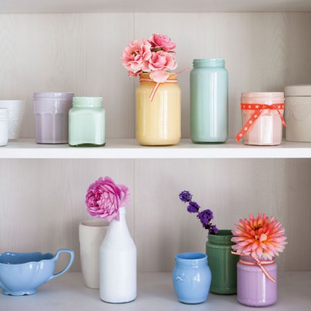 how to make chalky pastel jam jar vases
