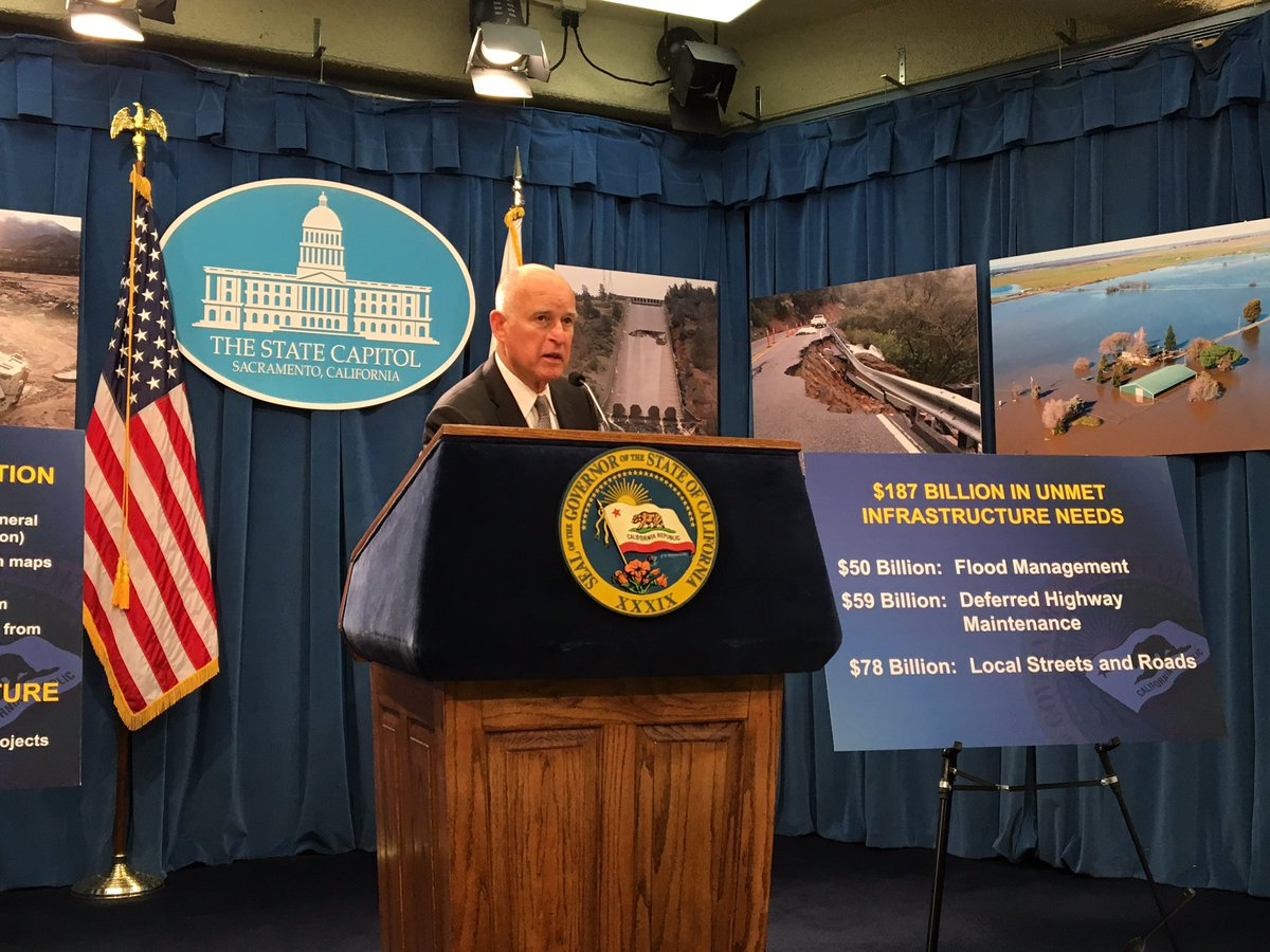 Gov. Jerry Brown unveils flood and water proposals at the state Capitol. (John Myers/Los Angeles Times)