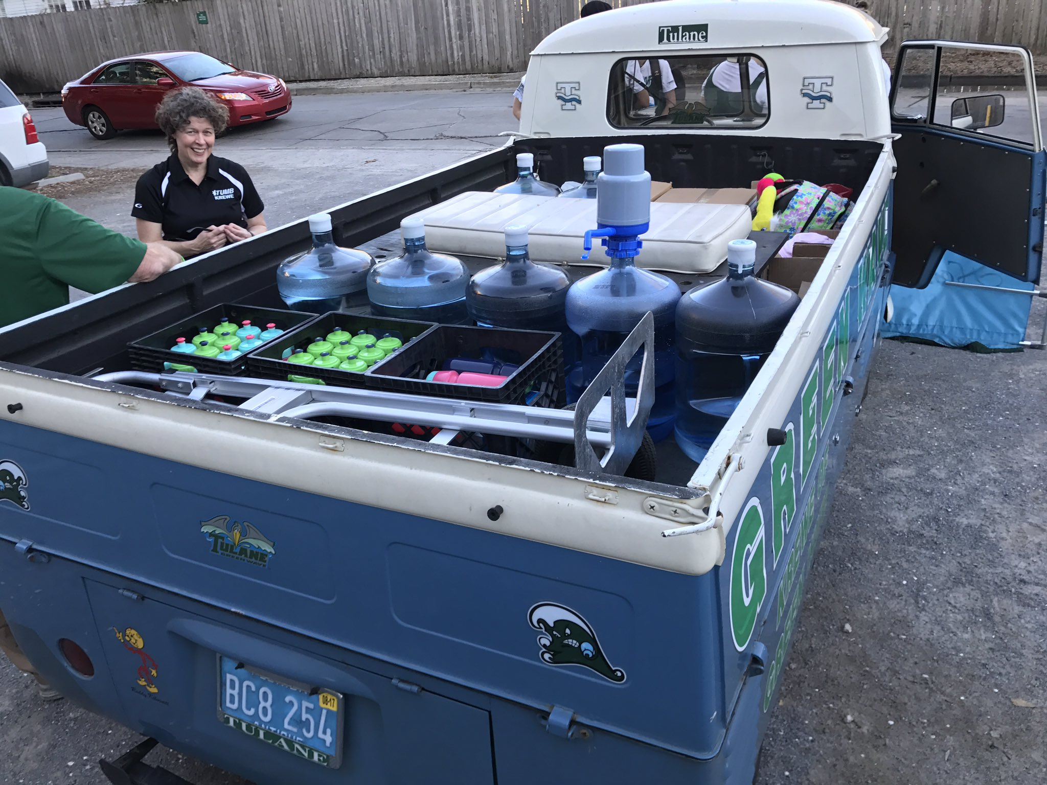 Now we use reusable water bottles, filled in the back of our electric-motor '61 VW Transporter! #TulaneRecycles @RecycleManiacs @GreenTulane https://t.co/rXaJrBSzLY