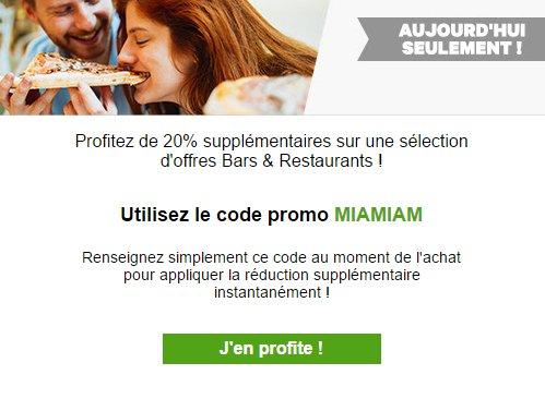 #Urgent! #Recevez 20% de #remise sur la #rubrique #Bars et #Restaurants  chez @Groupon , code #promotionnel MIAMIAM  https:// goo.gl/wpOEgZ  &nbsp;  <br>http://pic.twitter.com/6D4NtLn5XE