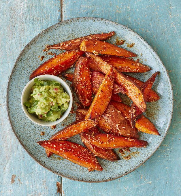 Sweet potato fries with avocado dip recipe