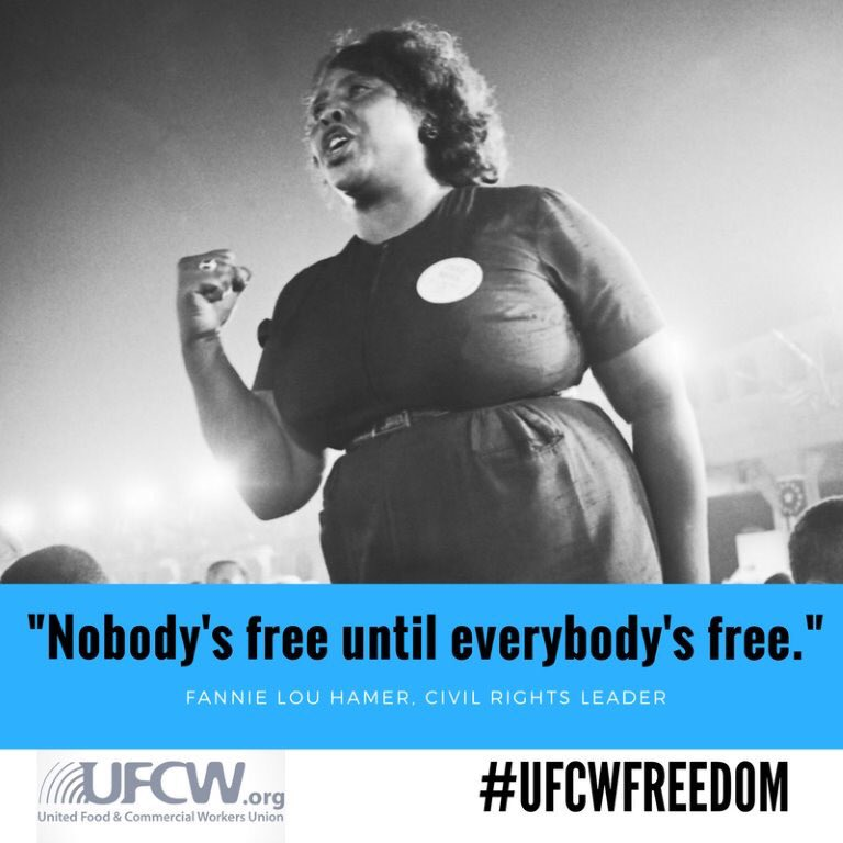 &quot;Nobody&#39;s Free  until Everybody&#39;s #Free.&quot;  Fannie Lou Hamer  #CivilRights Leader  #1u #BHM #UFCWfreedom<br>http://pic.twitter.com/YoAdZo5bTc