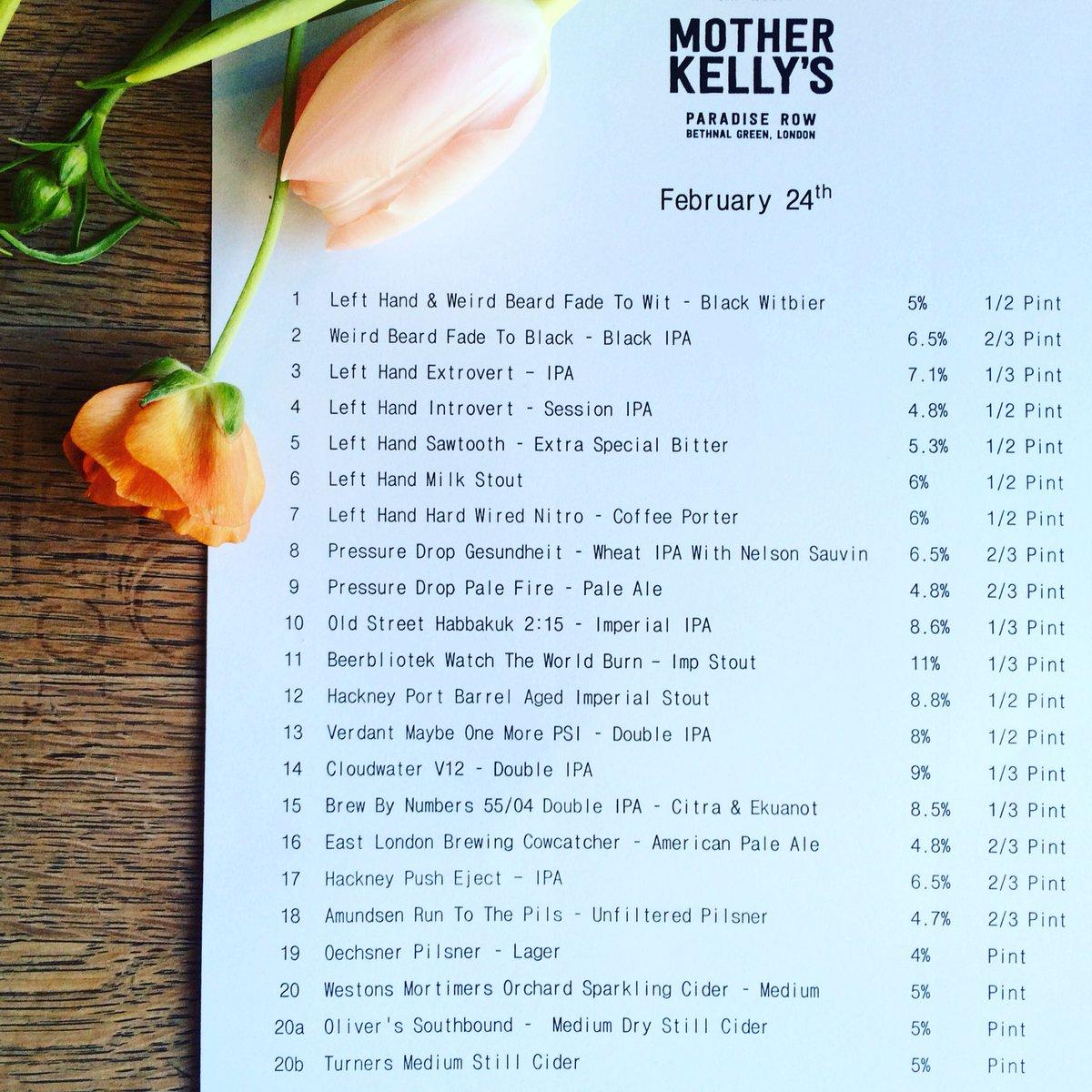 FRIDAY&#39;S MENU IS LOVING AND GIVING   #menu #beermenu #friday #friyay #eastlondon #bethnalgreen #E2 #motherkellys<br>http://pic.twitter.com/PFTl4AgKV4