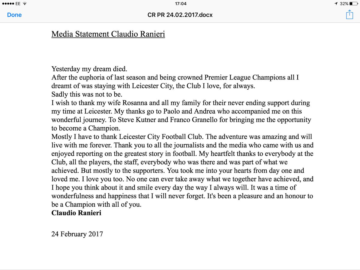 BREAKING: 'Yesterday my dream died' Statement from #ClaudioRanieri  Shame on you #lcfc