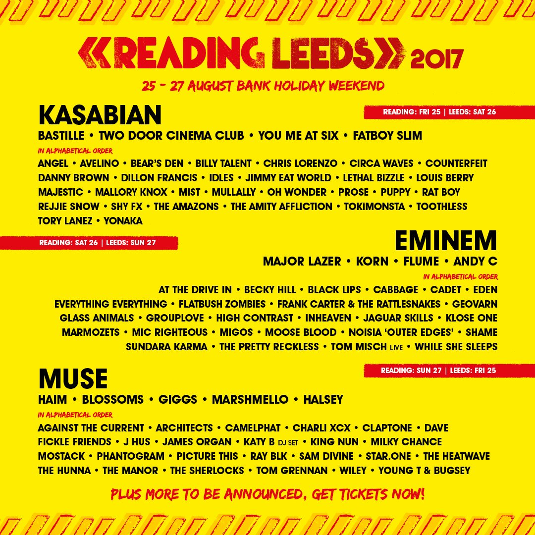 .@Eminem, #HAIM, @Migos, @Charli_XCX, @Phantogram, and more join #ReadingandLeeds&#39; stacked 2017 lineup:  http:// cos.lv/Mclv309krxE  &nbsp;  <br>http://pic.twitter.com/EMYSQabD5y