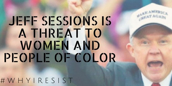 #WhyIResist Because the #AttorneyGeneral sets the tone at the Justice Dept &amp; #JeffSessions is a direct antagonist to women &amp; people of color <br>http://pic.twitter.com/C5A05HvjtH