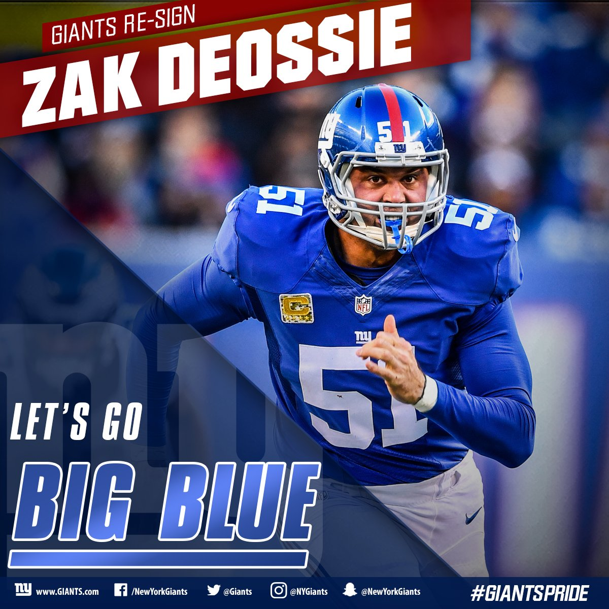 The #Giants have re-signed long snapper Zak DeOssie! #GiantsPride  DETAILS:  http:// bit.ly/2l8j3H1  &nbsp;  <br>http://pic.twitter.com/i0U5sexHDm