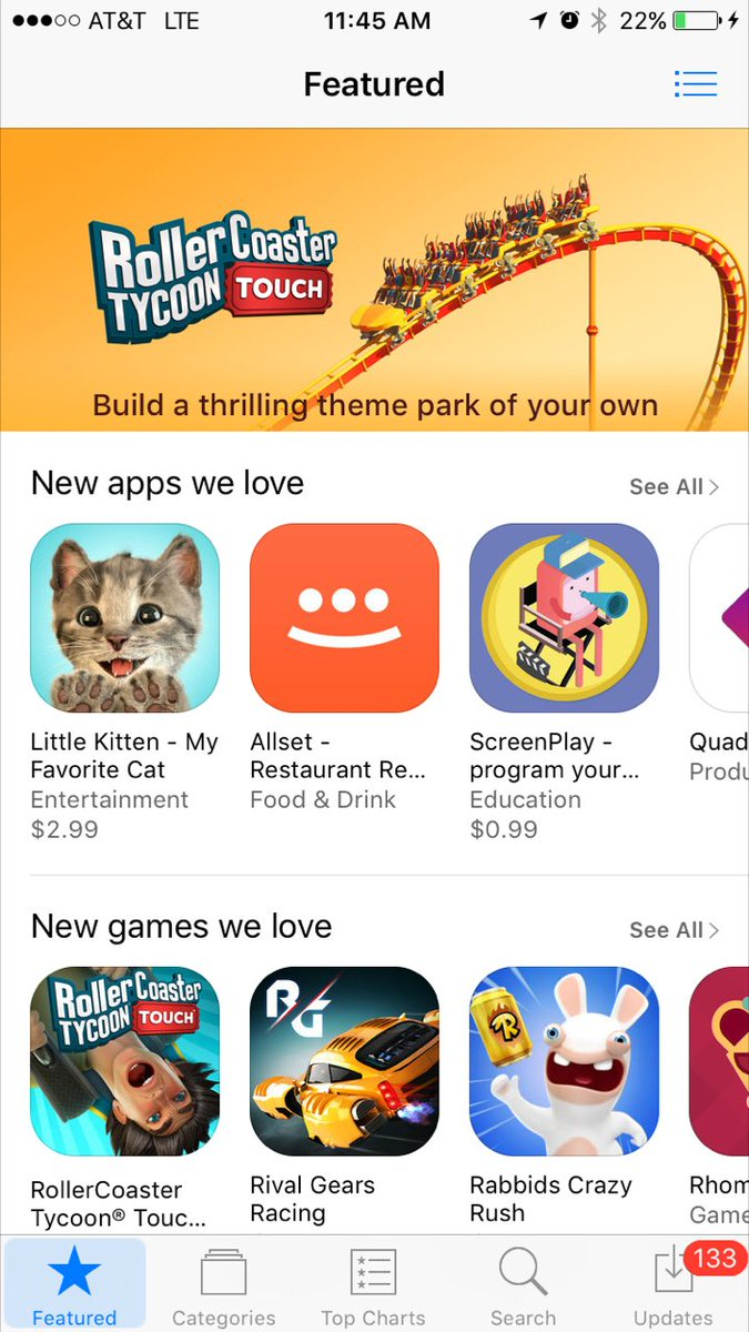 Congratulations to BPR client @atari on yesterday's #RollerCoasterTycoonTouch launch and App Store feature!
