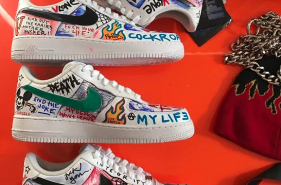 pretty nice f5a67 9fc4b This vlone x nike air force 1 low custom belongs to aap baris son -