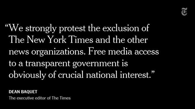Journalists from The New York Times, CNN and Politico were barred from attending a White House briefing https://t.co/XBVmXIIxUG