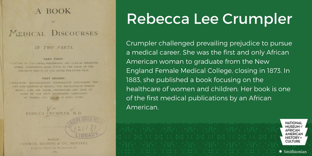 Rebecca Lee Crumpler is the first African American woman to earn an M....