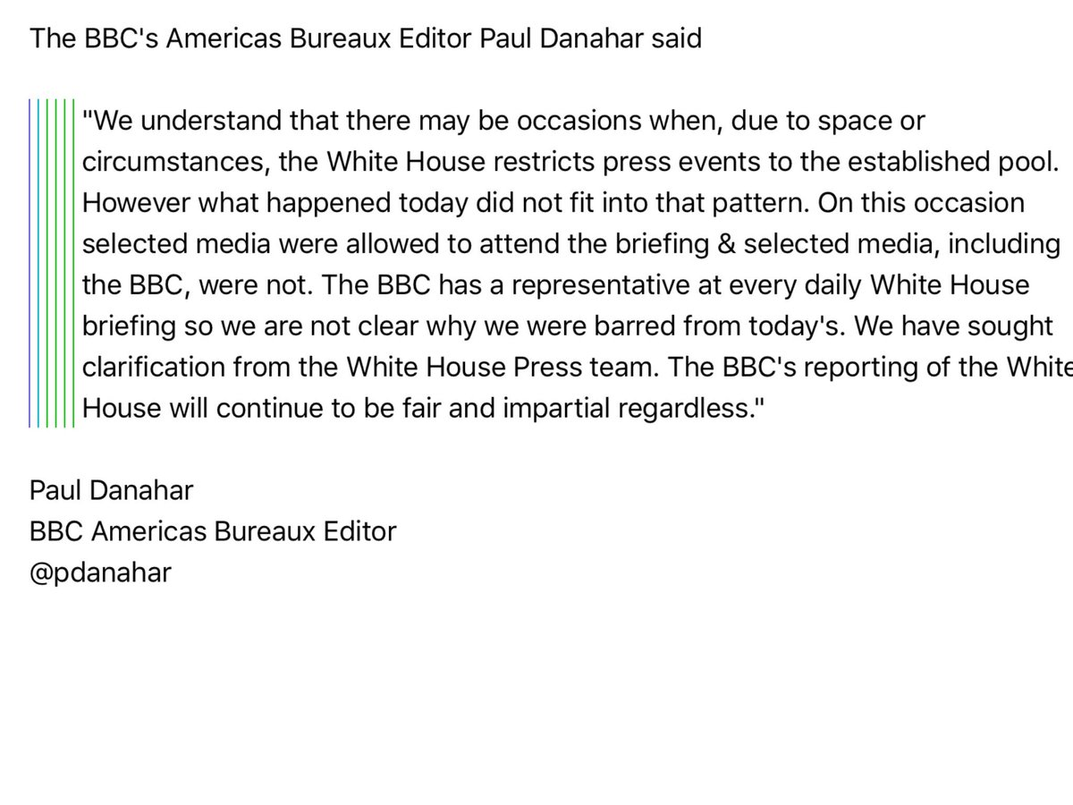 #BBC statement on what happened @WhiteHouse today when we were barred from press briefing given by @seanspicer