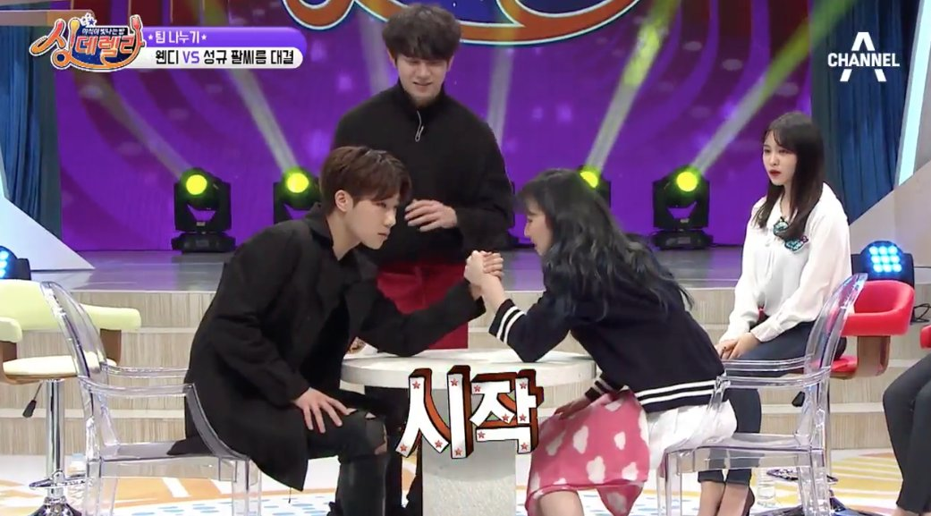 WATCH: #RedVelvet's Wendy Adorably Tries Arm Wrestling With #INFINITE'...