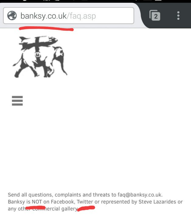 screen shot of banksy' site