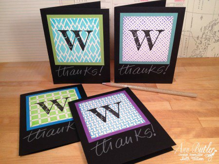 Monogram Faux Quilted Note Cards