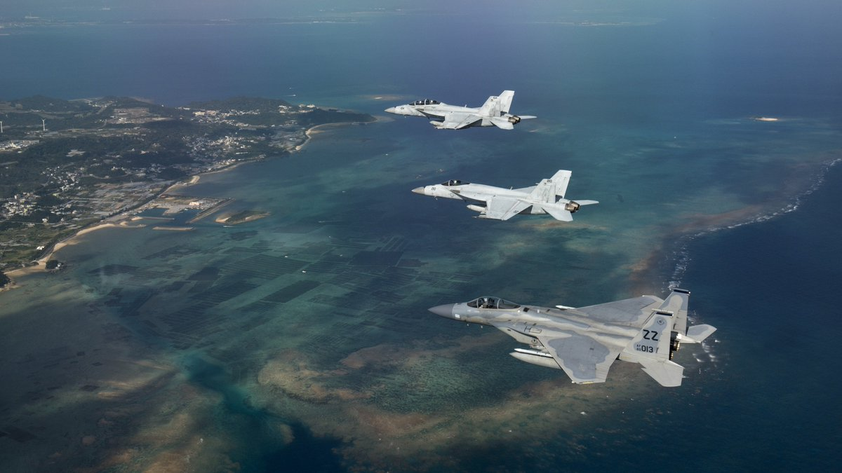 #USNavy and @USAirForce #fighters train to fight tonight and fight together in defense of #Japan and other Indo-Asia-Pacific allies<br>http://pic.twitter.com/BnRlAI6T1Z