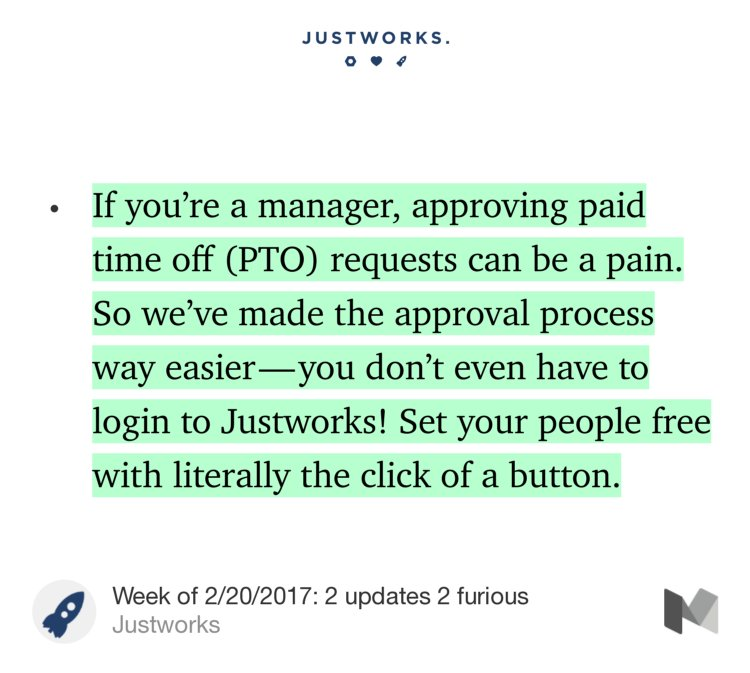 Great #pto update this week for @JustworksHR customers  https:// updates.justworks.com/week-of-2-20-2 017-two-updates-two-furious-a3cfde846826#---0-224.ae20hybsf &nbsp; … <br>http://pic.twitter.com/xL4QYPXVFe