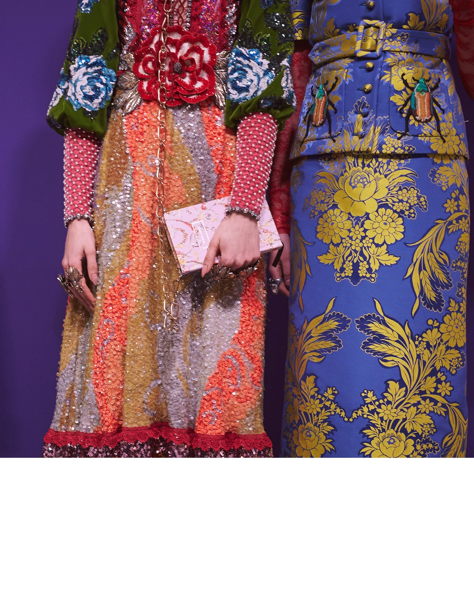 Embellished gowns and jacquard skirts at the #GucciFW17 show. https://t.co/2x040b1BCw