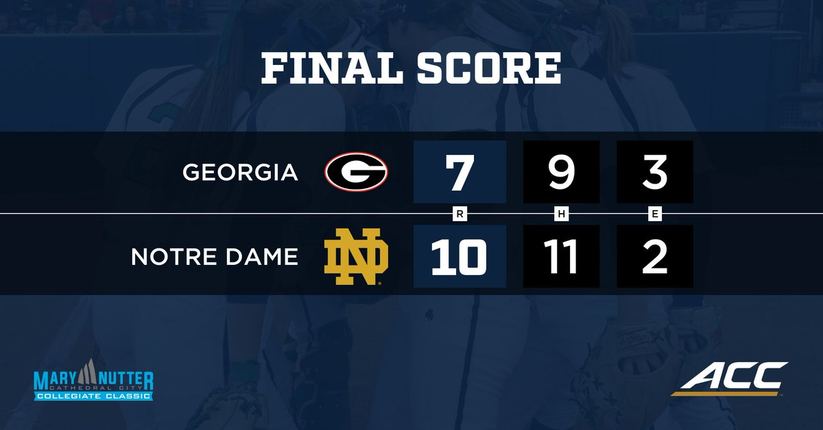 IRISH WIN!!! ND rallies from 2 down in 6th to beat #11/12 Georgia 10-7! ND &amp; OU Sun. at 1 p.m. ET #GoIrish #Fighters <br>http://pic.twitter.com/kaB2COrnlC