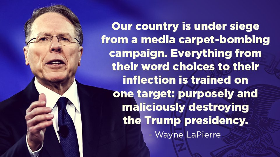 &quot;Our country is under siege from a media carpet-bombing campaign. And America knows it.&quot; - Wayne LaPierre  #NRA #CPAC2017<br>http://pic.twitter.com/SDCVAUguTC
