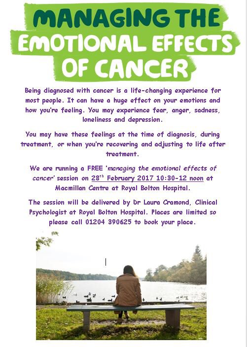 Struggling with your emotions after a cancer diagnosis? Come to our free &#39;Managing the emotional effects of cancer&#39; session 28 Feb #NotAlone <br>http://pic.twitter.com/U3UOlZ6kvY