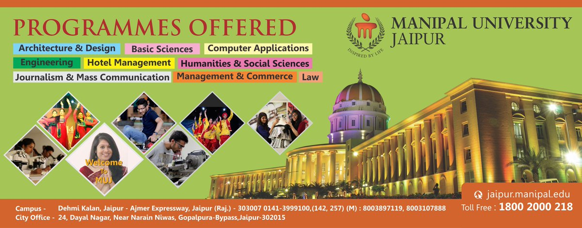 Admissions open at Manipal University Jaipur for the 2017-18 batch. #muj #admissions #bestinfrastructure #bestuniversity #bestplacements<br>http://pic.twitter.com/Muos2pN6bM