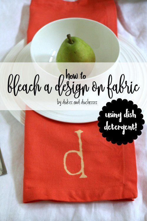 Bleach a design on fabric with dish detergent! https://t.co/FFUY0cknve...