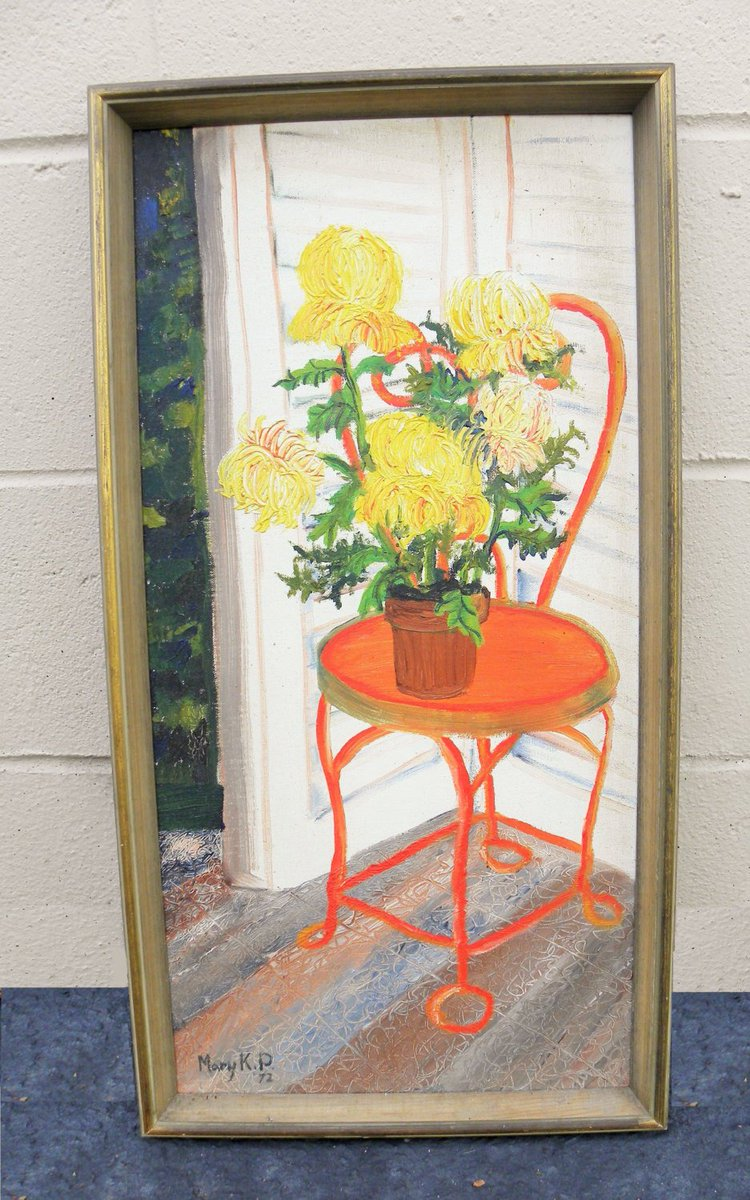 Vintage #Palette Knife #Painting, #Chrysanthemums #Flowers, #Peony  #Still life   http:// etsy.me/1VHdhdv  &nbsp;   #etsy<br>http://pic.twitter.com/l6HgWxB8Gl