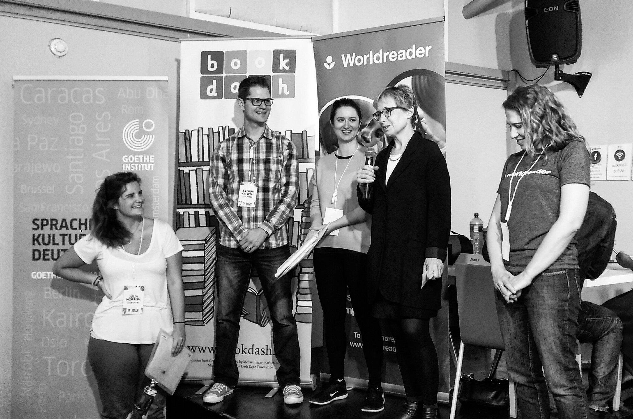 Brigitte (@goethejoburg), Julia & @arthurattwell welcoming the participants to the 9th @BookDash 👏 #BookDash #BookDashPlus @worldreaders https://t.co/4vKL2Z799m