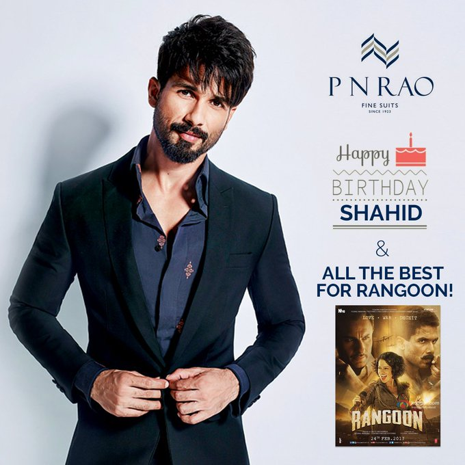 Here\s wishing Shahid Kapoor a very Happy Birthday & Best Wishes for Rangoon!
