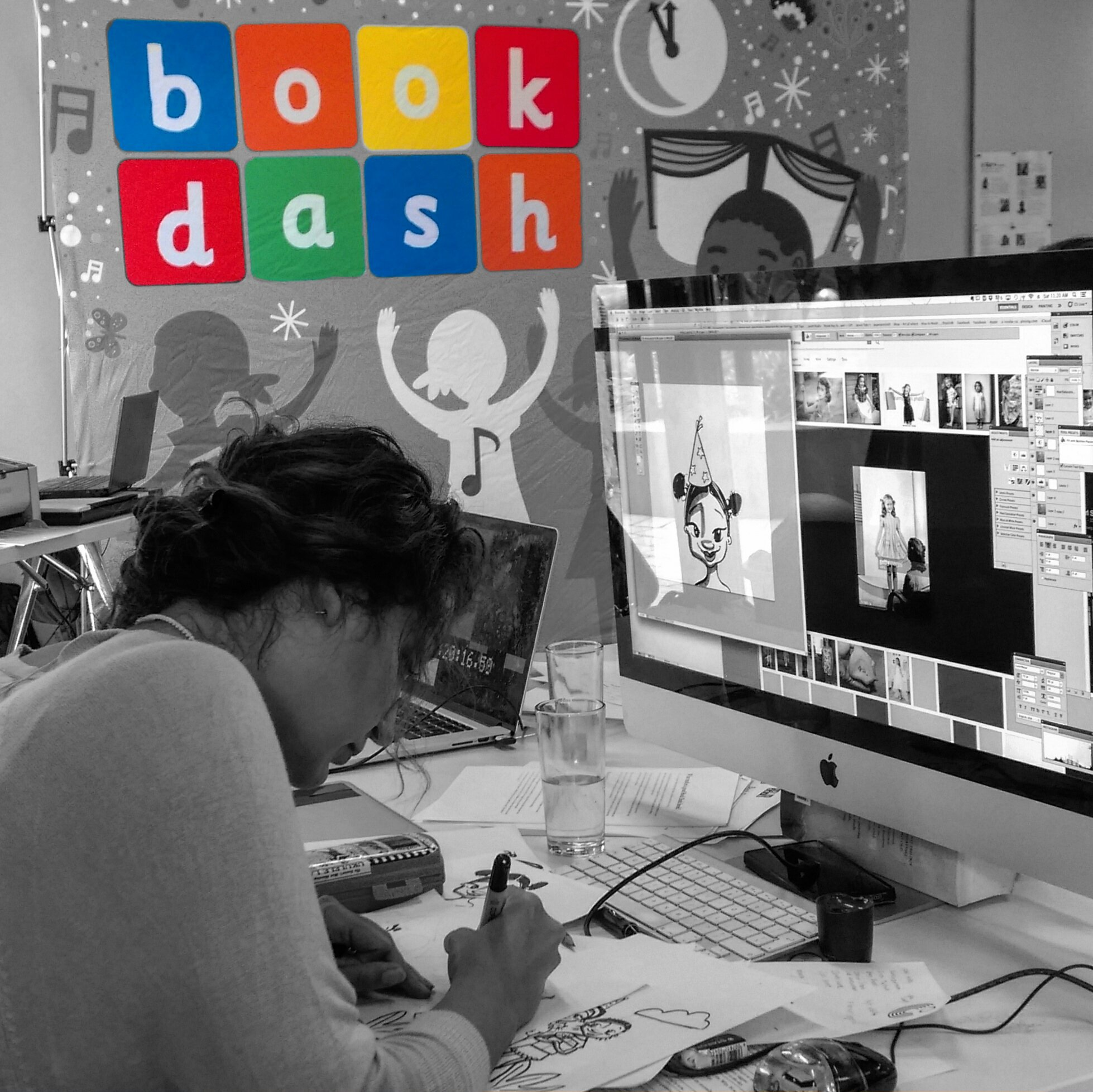 Nicci illustrating children's book Mina and the Birthday Dress at @bookdash. #BookDash #BookDashPlus @goethejoburg @worldreaders https://t.co/3SuxnZMDXb