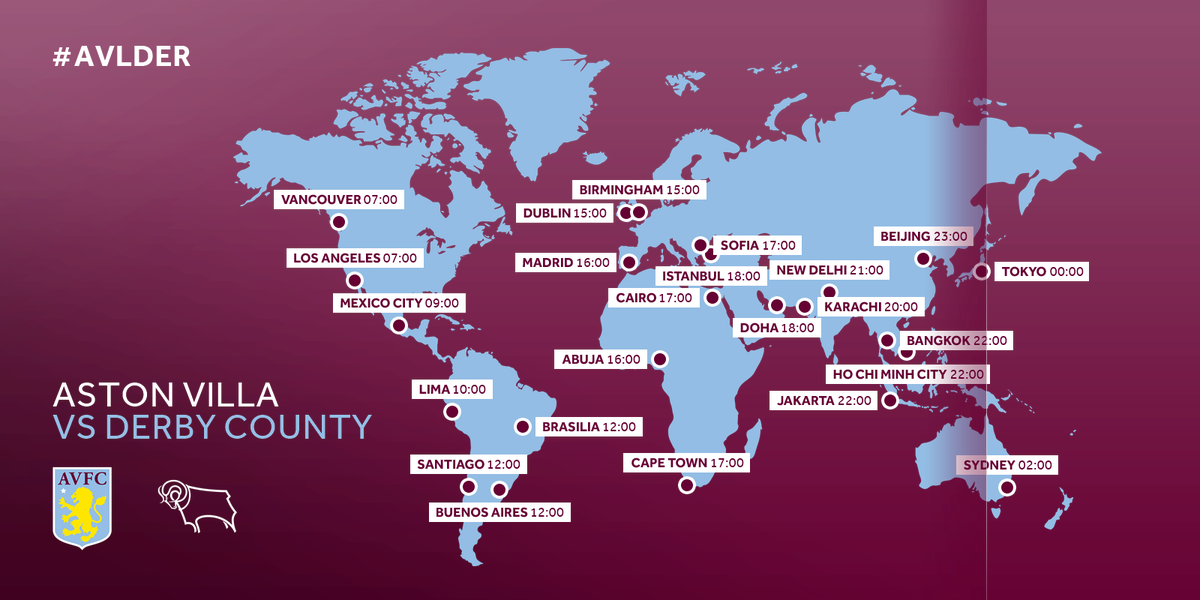 Aston Villa On Twitter Globalvillans The Claret And Blue Map Showing Kick Off Time In Various Cities What Country Are You Following Avlder From Https T Co 8st4oles55