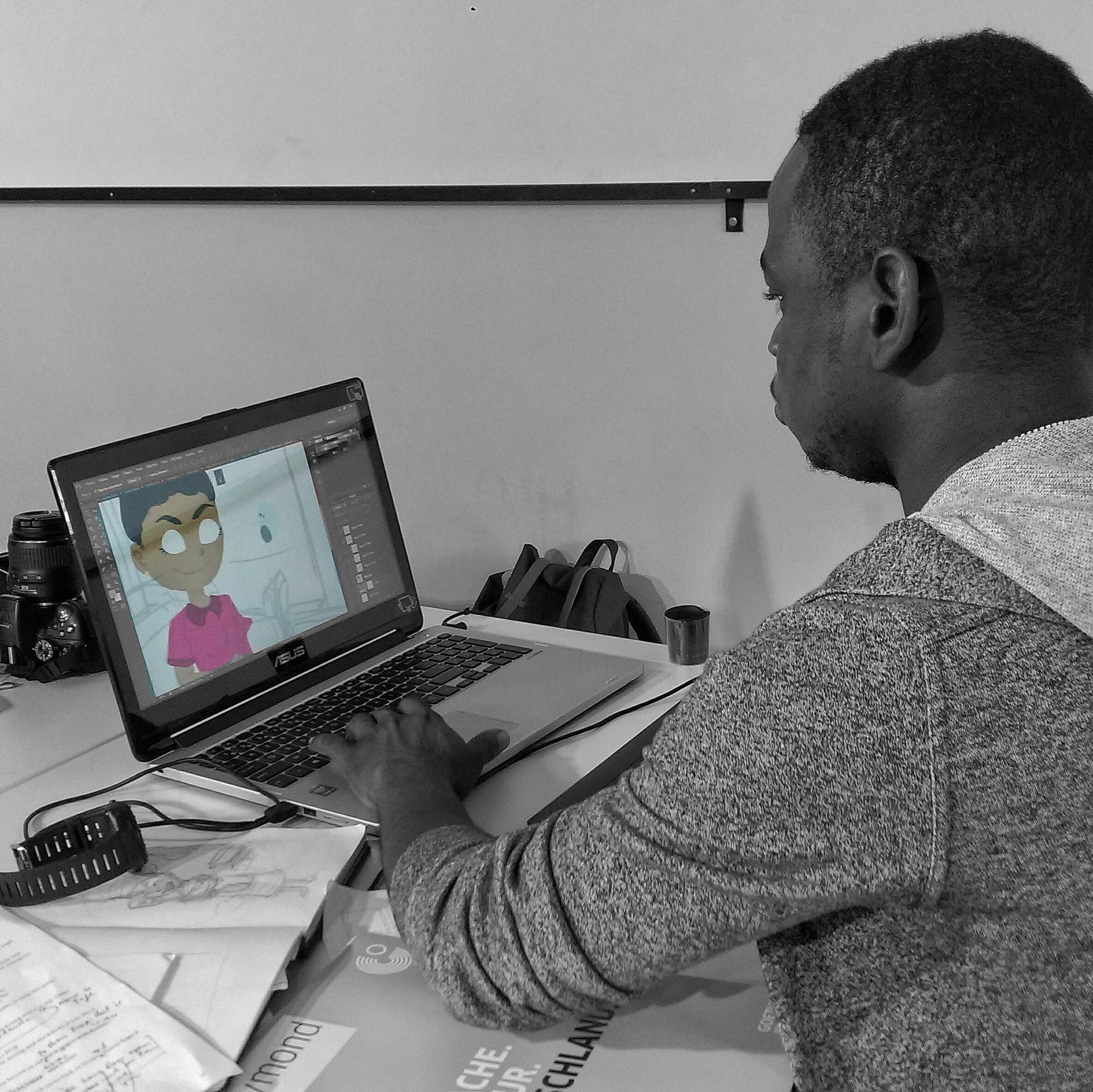 Ivorian illustrator Raymond Diby working on the children's book Miss Tiny Chef for @bookdash. #BookDash #BookDashPlus @worldreaders https://t.co/qhJN2Uo4QN